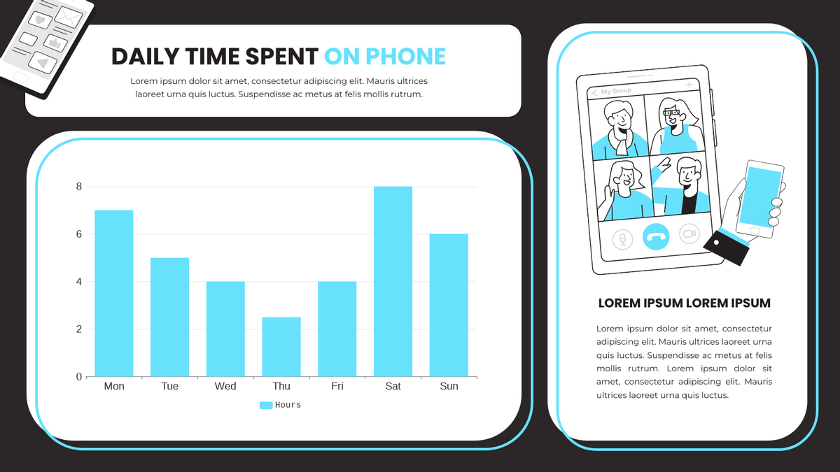 Column Chart template: Daily Time Spent On Phone Column Chart (Created by Chart's Column Chart maker)