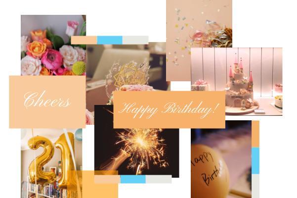 Greeting Card template: Orange Birthday  Collage Greeting Card (Created by Collage's Greeting Card maker)
