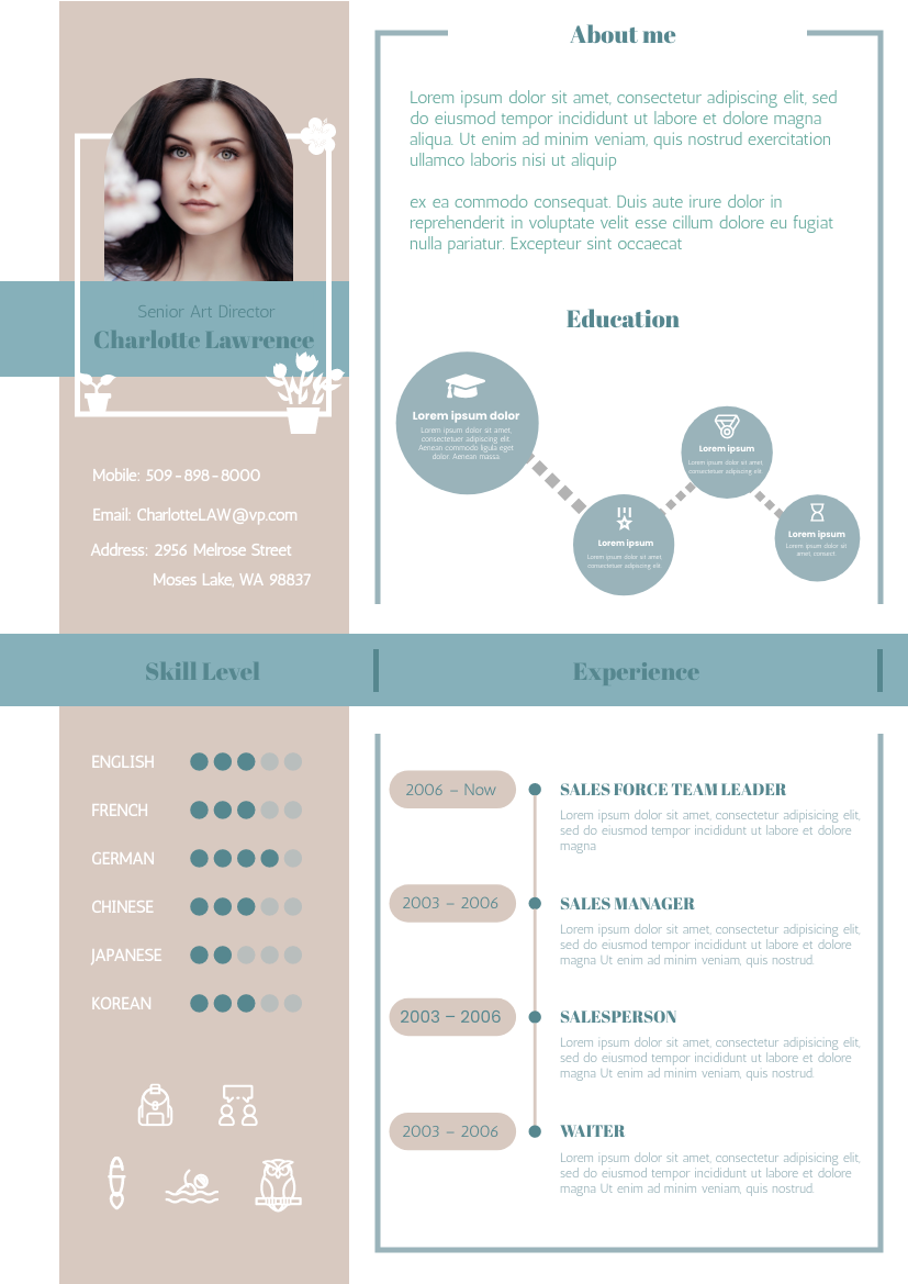 Resume template: Wafer Calypso Resume (Created by InfoART's Resume maker)