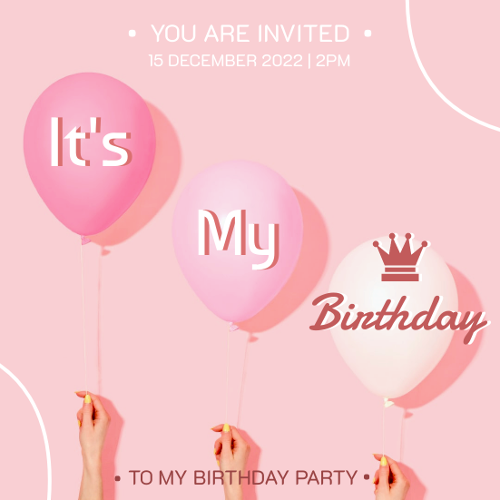 Invitation template: Girly Pink It's My Birthday Invitation (Created by InfoART's Invitation marker)