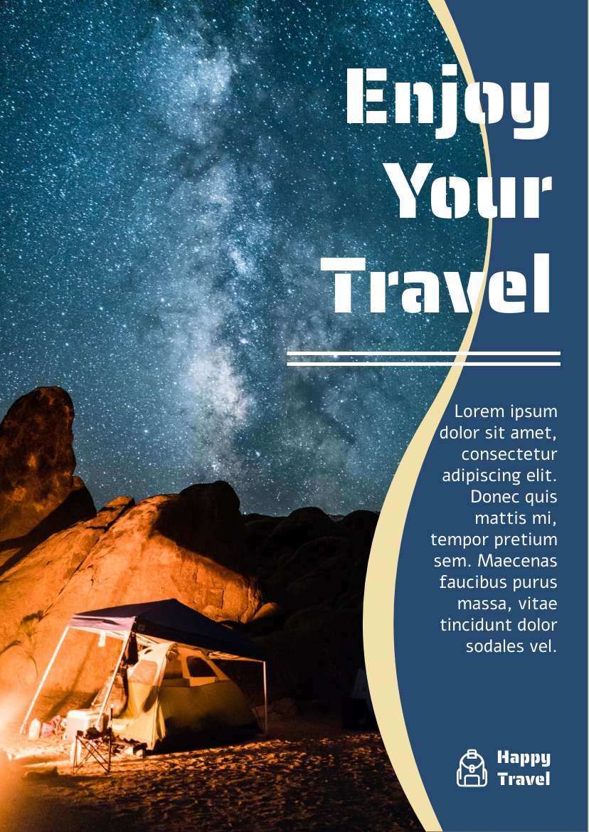 Flyer template: Travelling And Camping Informative Flyer (Created by InfoART's Flyer maker)
