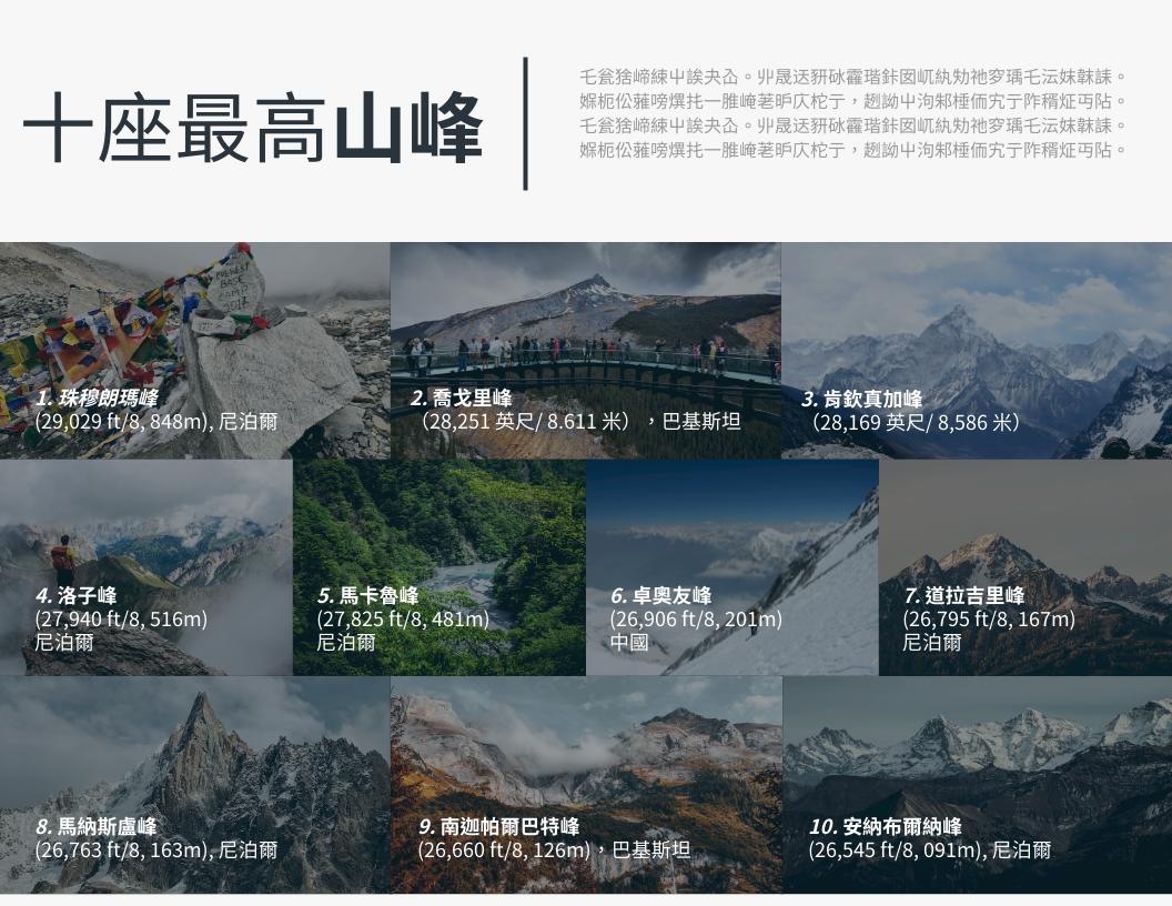 信息圖表 template: 十座最高的山峰信息圖 (Created by InfoART's 信息圖表 maker)