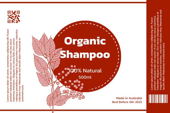 Label template: Organic Shampoo Label (Created by InfoART's Label maker)