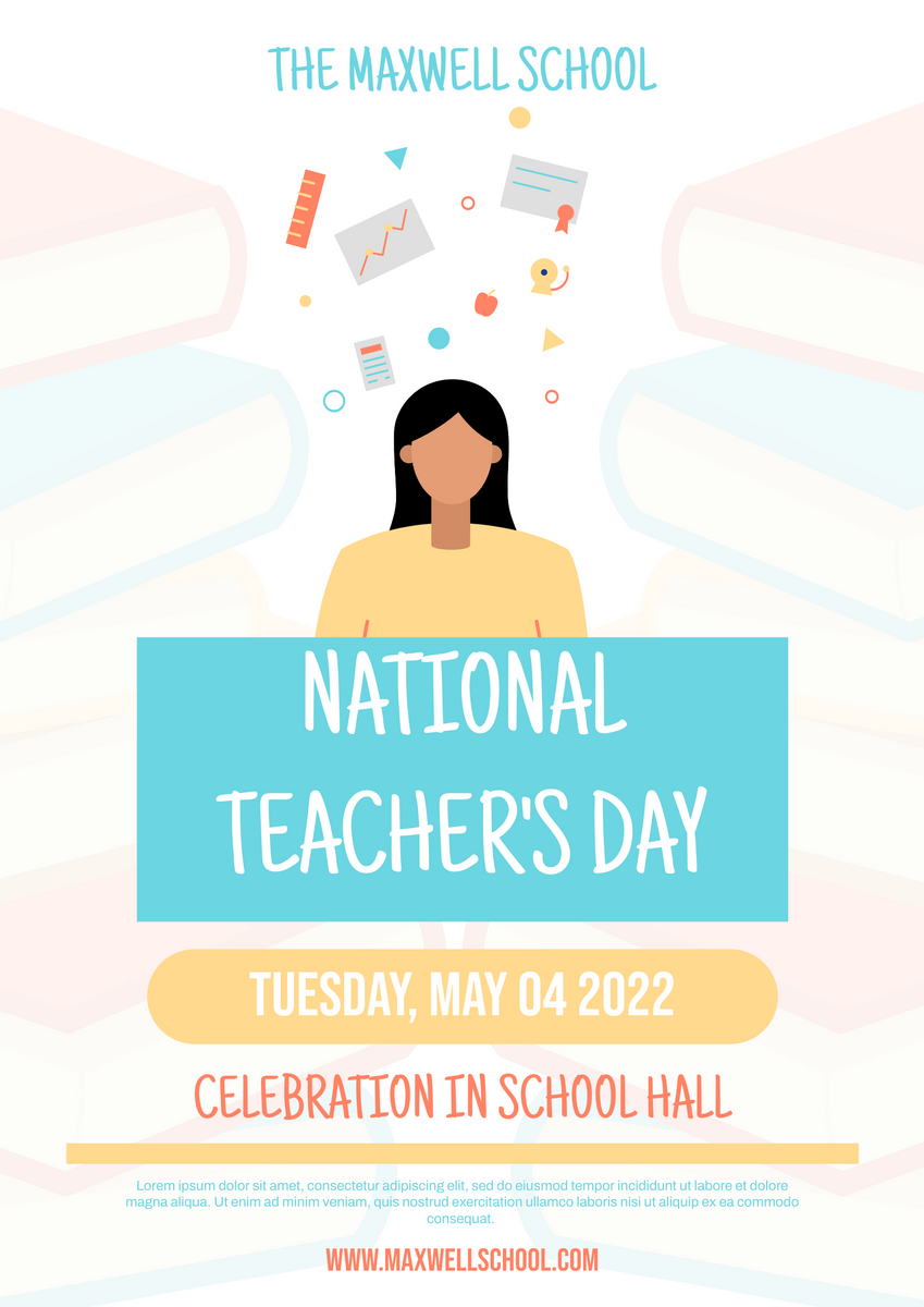 Poster template: Book & Teacher's Day Poster (Created by InfoART's Poster maker)
