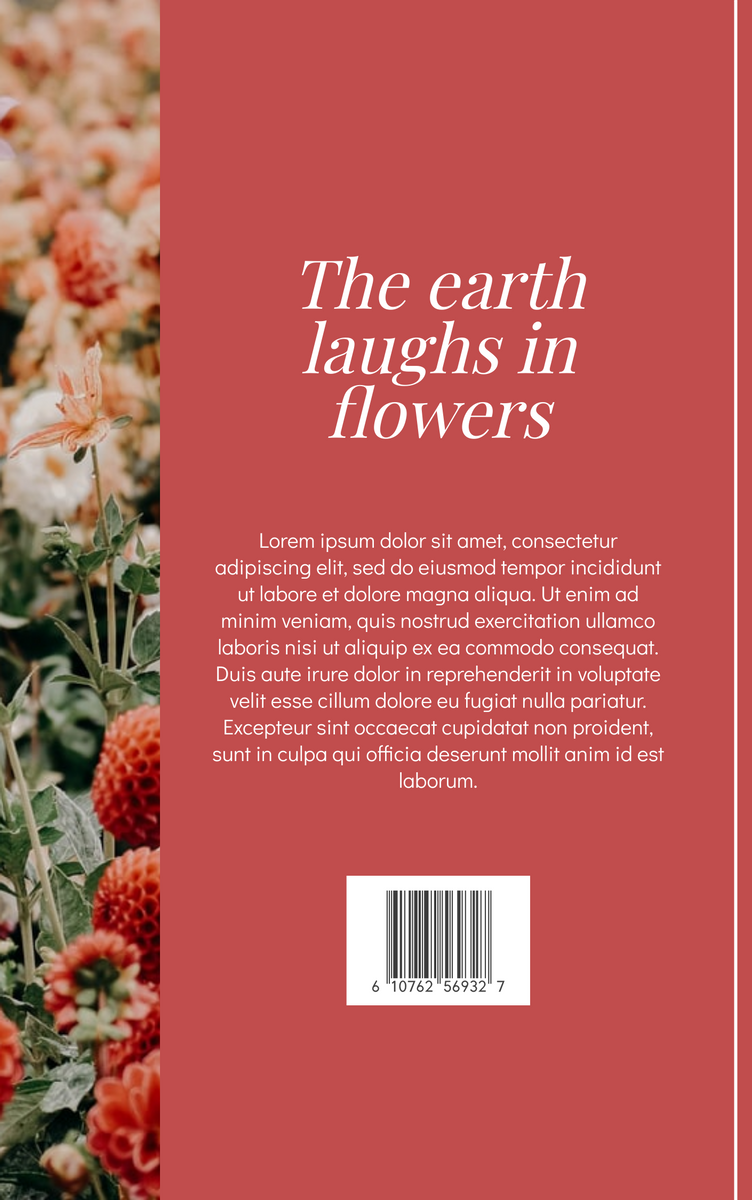 Book Cover template: The Earth Laughs In Flower Book Cover (Created by InfoART's Book Cover maker)