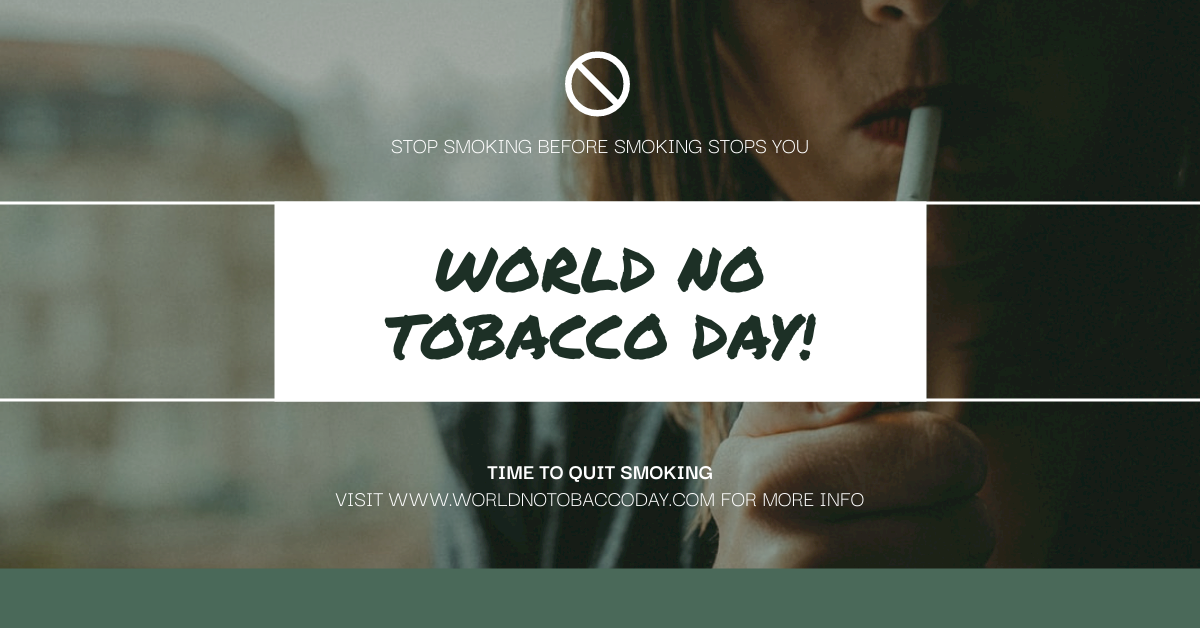 Facebook Ad template: Green Smoking Photo World No Tobacco Day Facebook Ad (Created by InfoART's Facebook Ad maker)