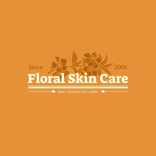 Logo template: Floral Logo Created For Skin Care Shop In Orange And White (Created by InfoART's Logo maker)