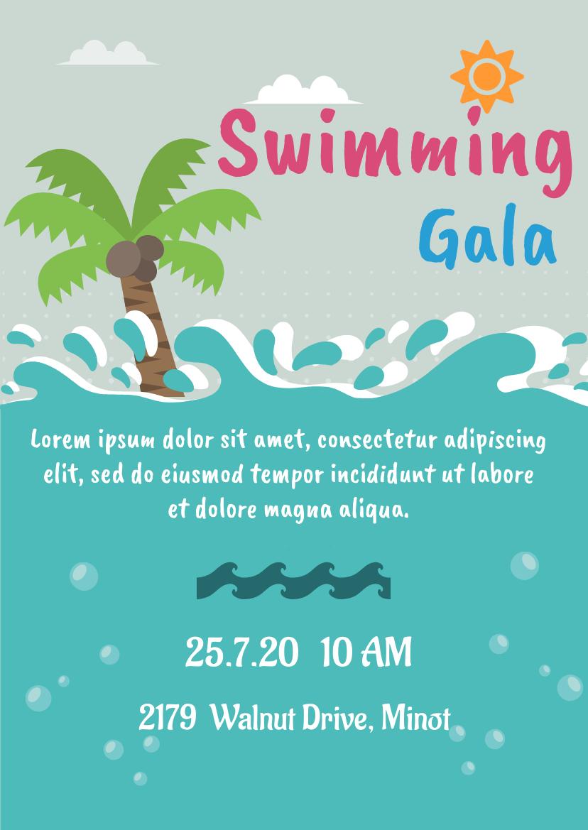 Flyer template: Swimming Gala (Created by InfoART's Flyer maker)