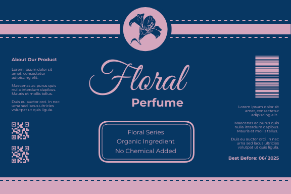 Label template: Floral Perfume Label (Created by InfoART's Label maker)