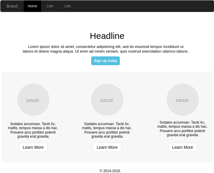 Bootstrap Wireframe template: Simple Homepage (Created by Diagrams's Bootstrap Wireframe maker)