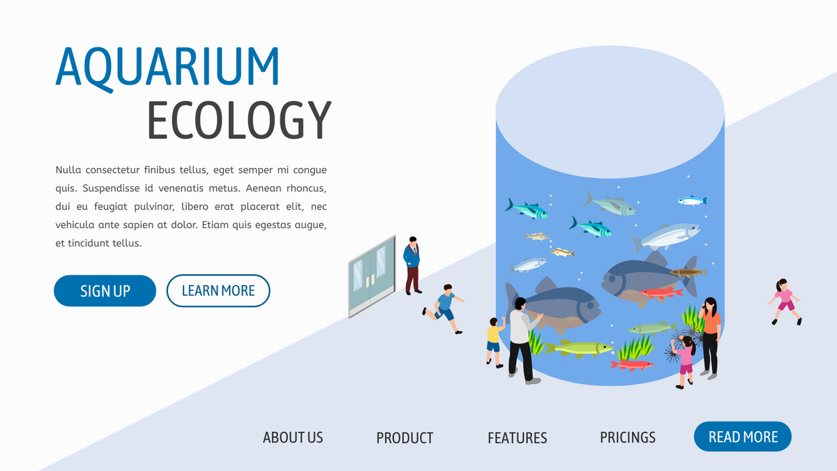 Isometric Diagram template: Aquarium (Created by InfoART's Isometric Diagram marker)