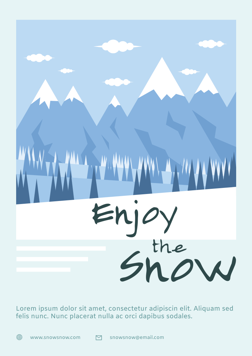 Flyer template: Snow Mountain Travel Flyer (Created by InfoART's Flyer maker)