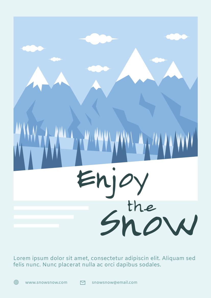 Flyer template: Snow Mountain Travelling Flyer (Created by InfoART's Flyer maker)