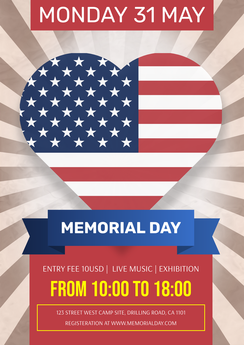 Poster template: Memorial Day Exhibition Poster (Created by InfoART's Poster maker)