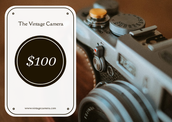 Gift Card template: Brown Vintage Camera Sale Gift Card (Created by InfoART's Gift Card maker)