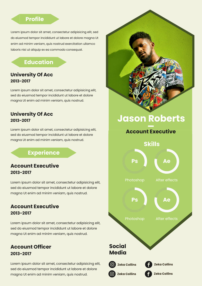 Resume template: Green Polygon Resume (Created by InfoART's Resume maker)