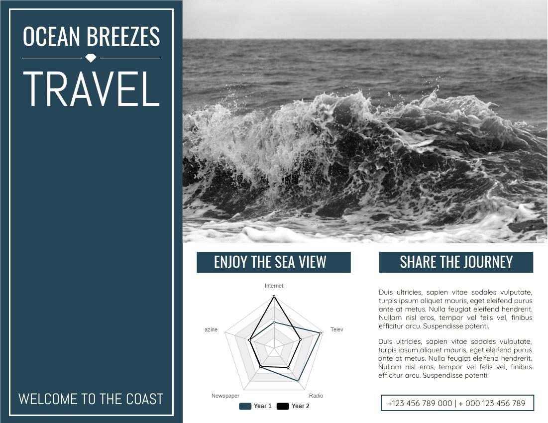 Brochure template: Ocean Breeze Travel Brochure (Created by InfoART's Brochure marker)