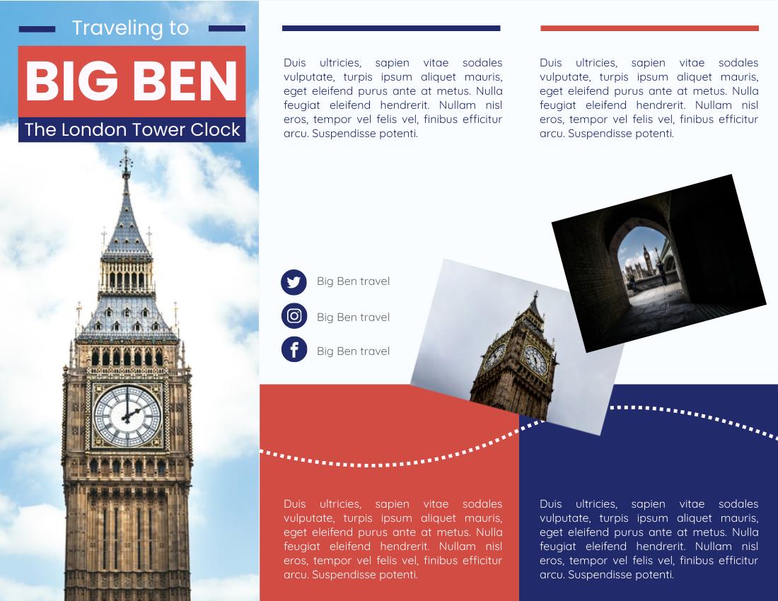 Brochure template: Traveling To Big Ben Brochure (Created by InfoART's Brochure marker)