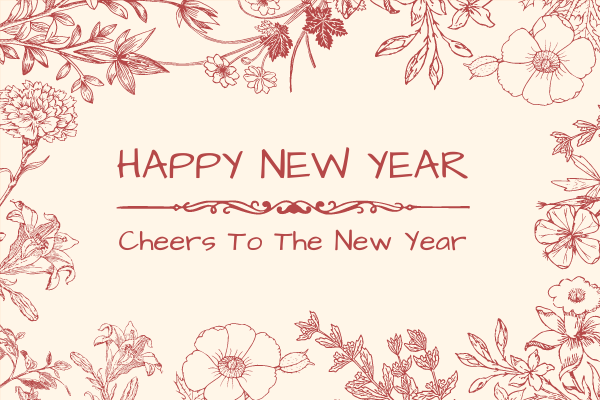 Greeting Card template: Red Floral New Year Greeting Card (Created by InfoART's Greeting Card maker)