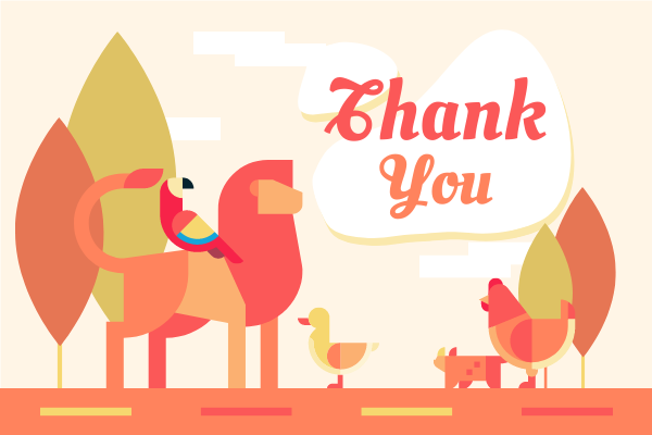 Greeting Card template: Animals Thank You Card In Red Colour Tone (Created by InfoART's Greeting Card maker)