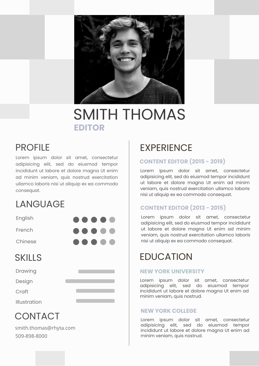 Resume template: Black Resume 2 (Created by InfoART's Resume maker)