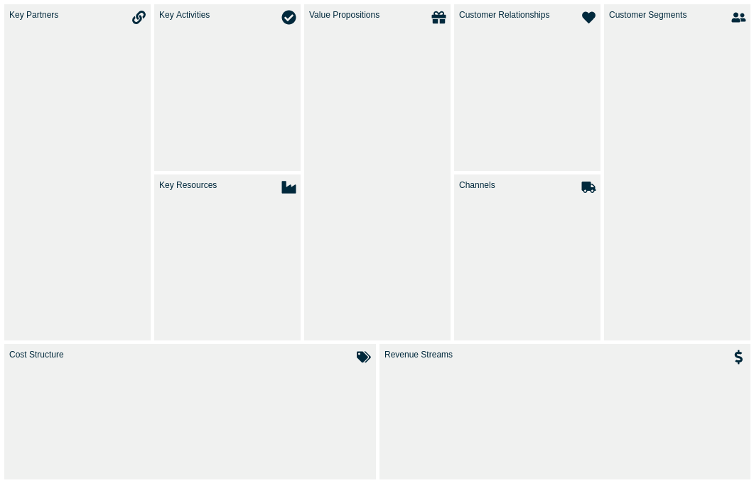 Business Model Canvas template: Navy (Created by Diagrams's Business Model Canvas maker)
