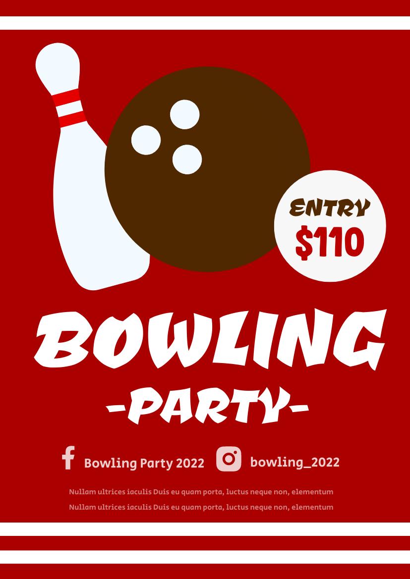 Flyer template: Bowling Party (Created by InfoART's Flyer maker)