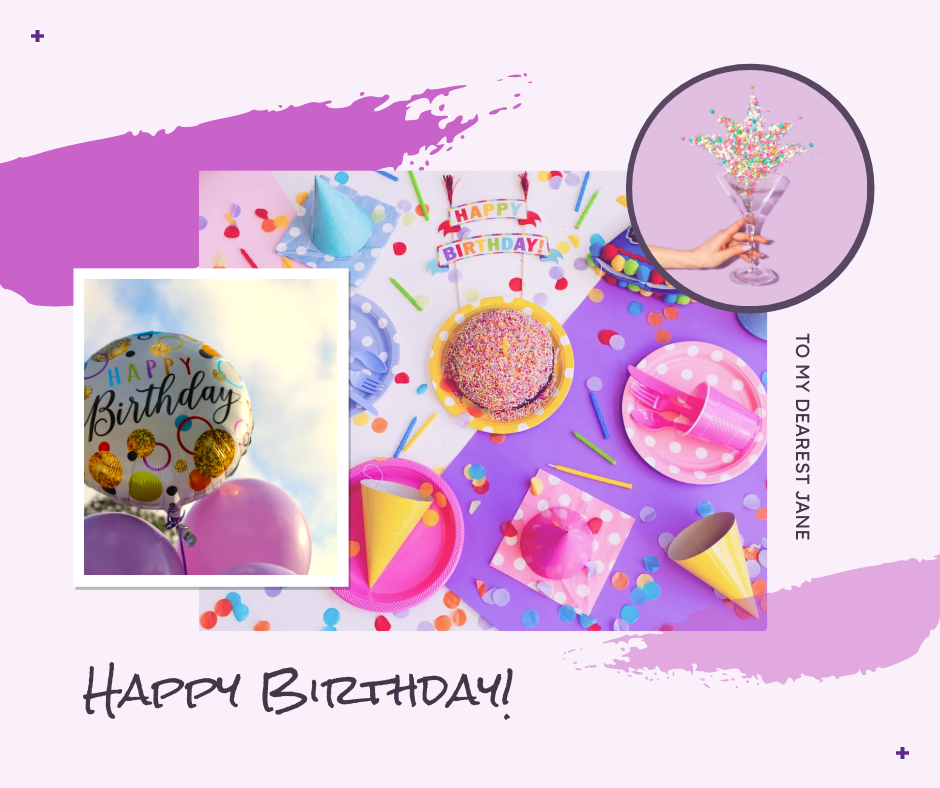 Facebook Post template: Purple Photo Collage Birthday Celebration Facebook Post (Created by InfoART's Facebook Post maker)