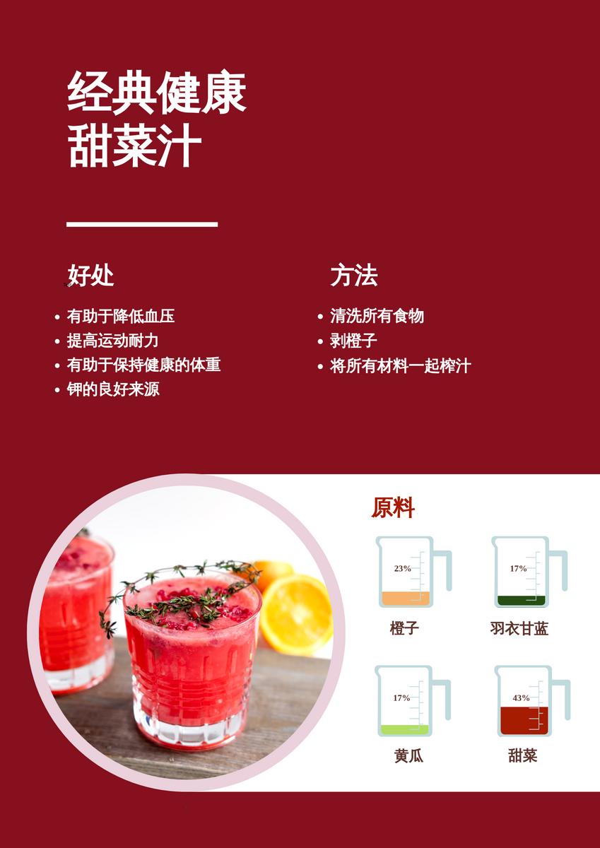 海报 template: 健康甜菜汁食谱 (Created by InfoART's 海报 maker)