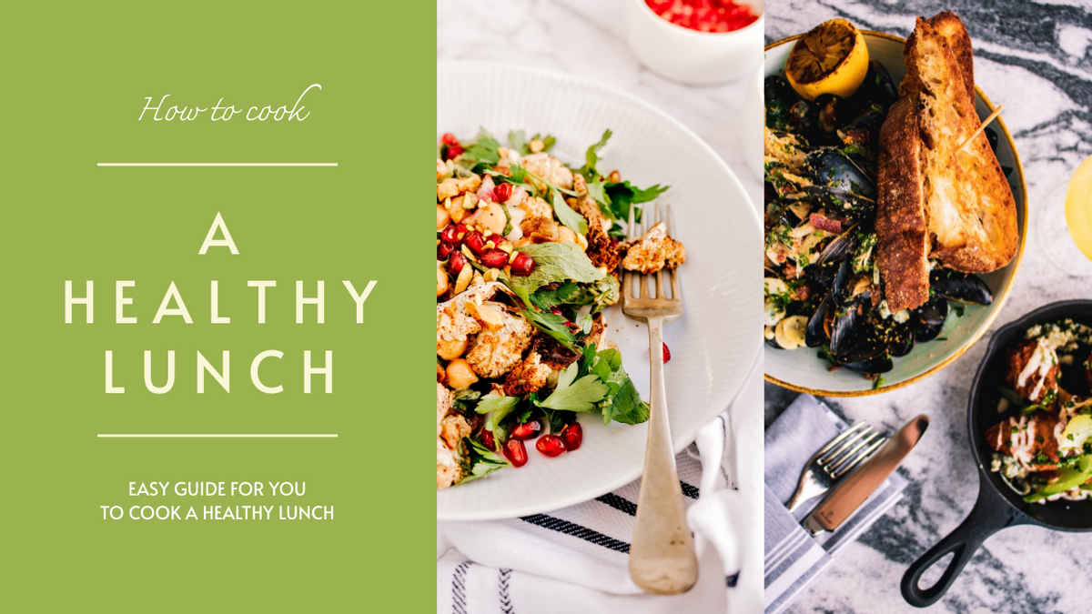 YouTube Thumbnail template: Green Food Photo Healthy Lunch Recipe YouTube Thumbnail (Created by InfoART's YouTube Thumbnail maker)
