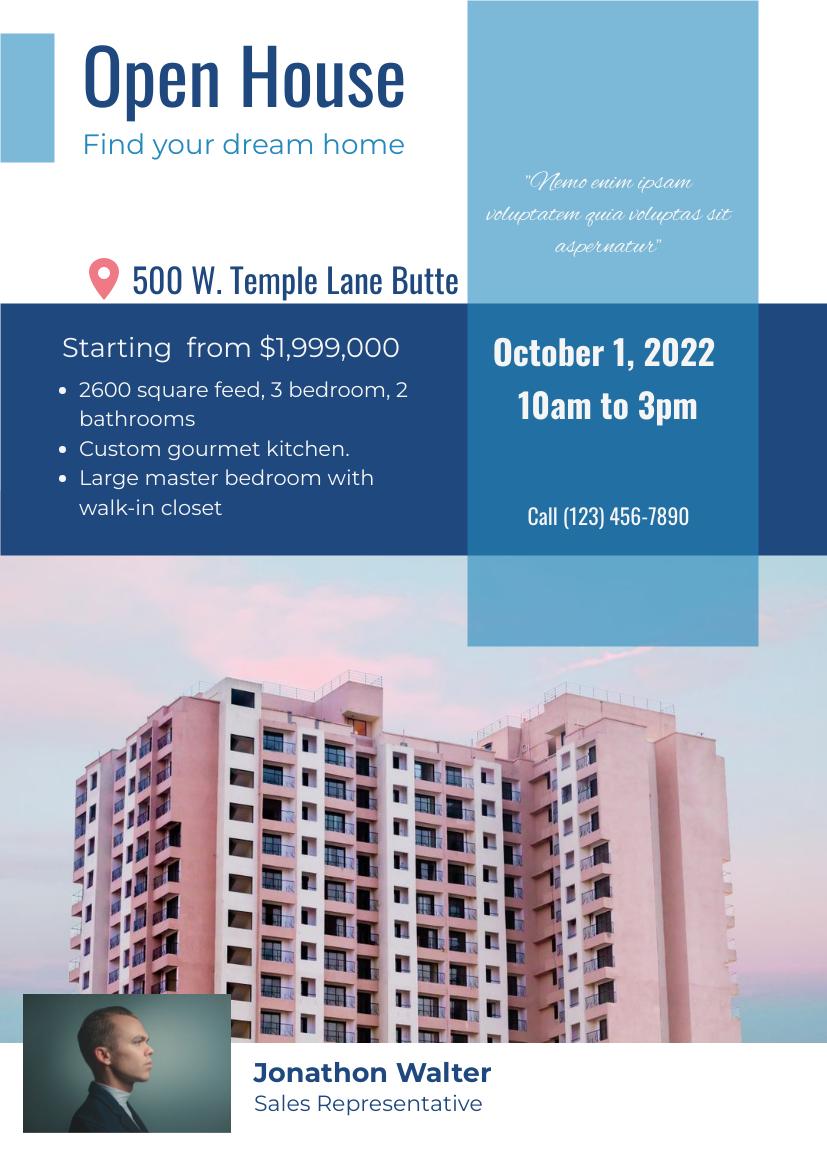 Flyer template: Real Estate Open House Flyer (Created by InfoART's Flyer maker)