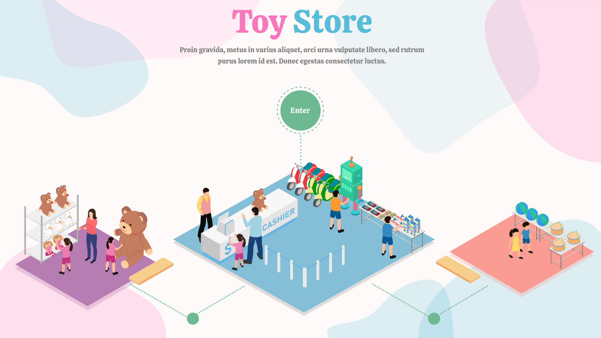 Isometric Diagram template: Toy Store Header (Created by InfoART's Isometric Diagram maker)