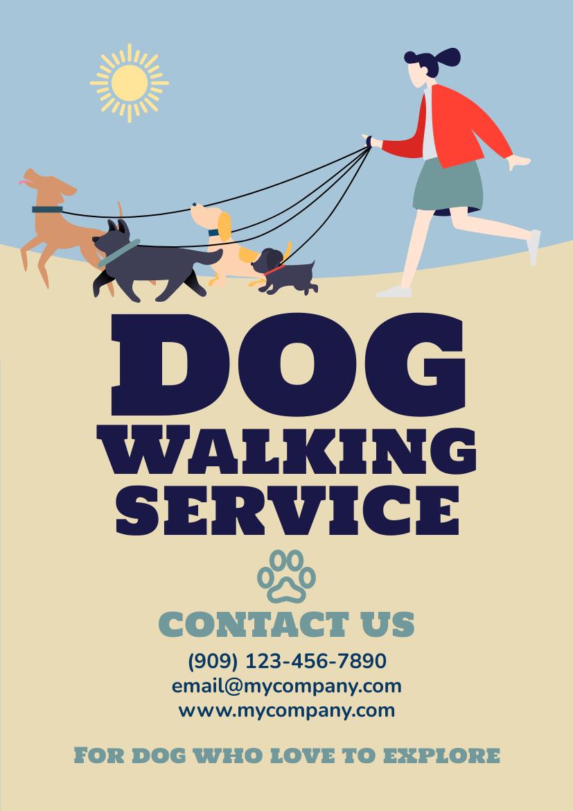 Flyer template: Dog Walking Service Flyer (Created by InfoART's Flyer maker)