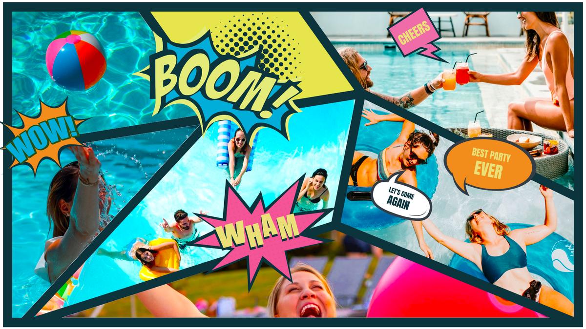Comic Strip template: Awesome Swimming Pool Party Comic Strip (Created by Collage's Comic Strip maker)