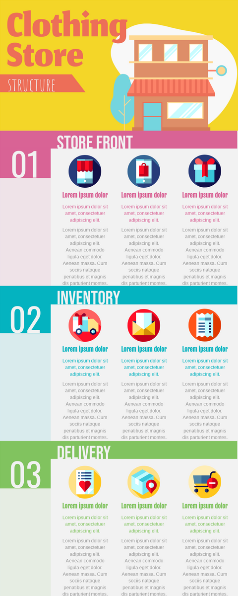Infographic template: Infographic About Daily Works Of Clothing Store (Created by InfoART's Infographic maker)