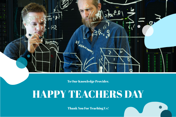 Greeting Card template: Blue Teachers Photo Happy Teachers Day Greeting Card (Created by InfoART's Greeting Card maker)