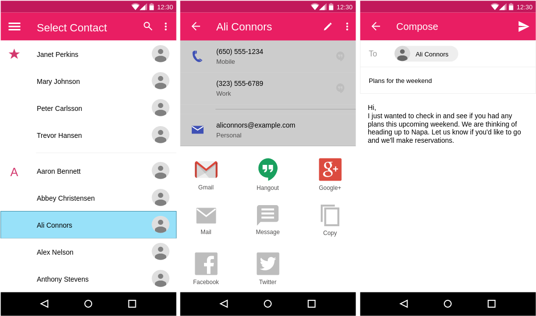 Compose Email (Material Design Wireframe Example)