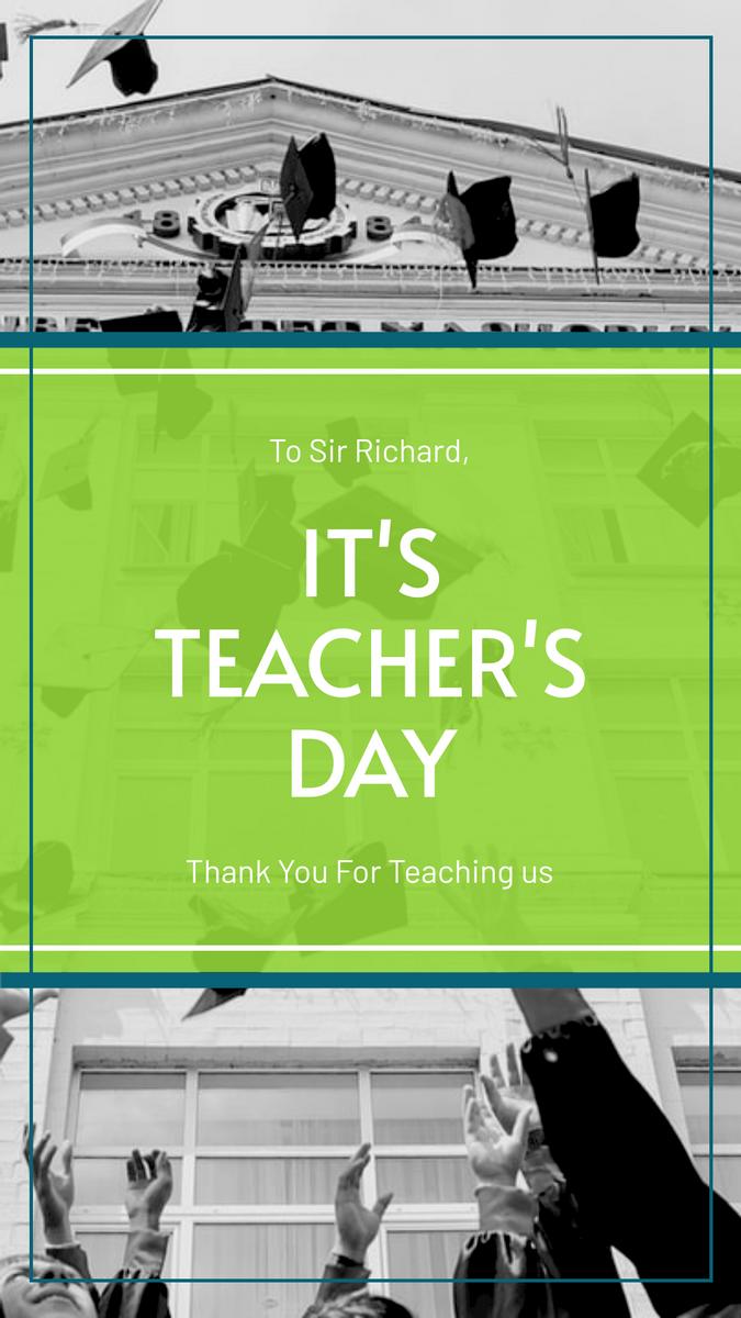 Instagram Story template: Green School Photo Teacher's Day Instagram Story (Created by InfoART's Instagram Story maker)