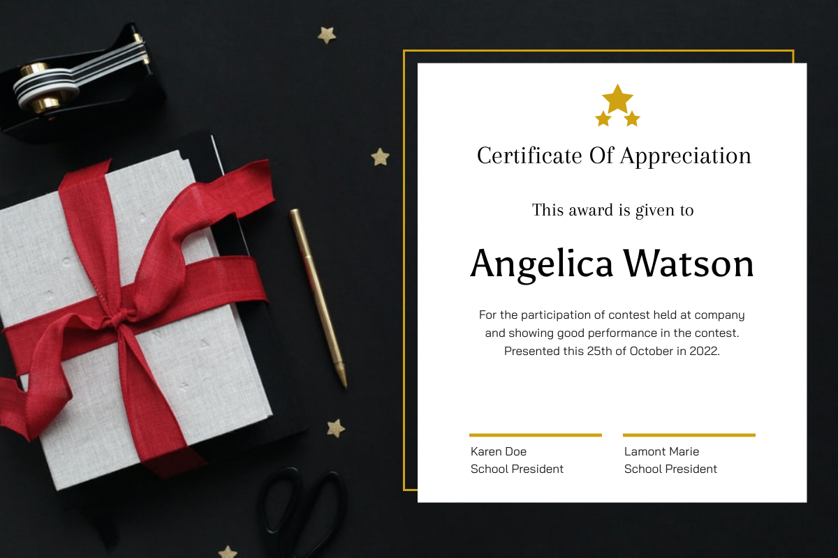 Certificate template: Simple Christmas Gift Photo Certificate (Created by InfoART's Certificate maker)