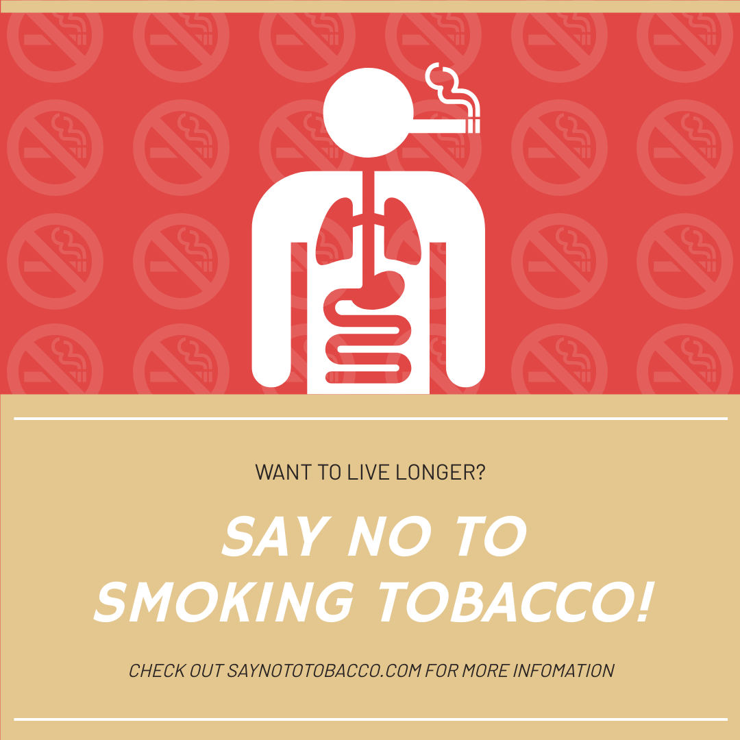 Instagram Post template: Red Smoking Illustration World No Tobacco Day Instagram Post (Created by InfoART's Instagram Post maker)