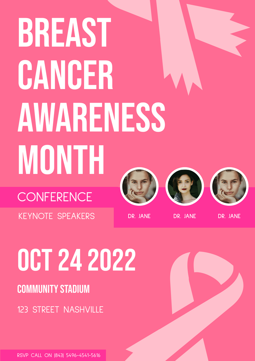 Poster template: Breast Cancer Awareness Poster (Created by InfoART's Poster maker)