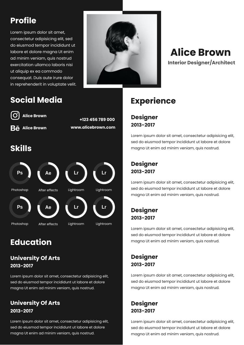Resume template: Horizontal Black and White Resume (Created by InfoART's Resume maker)