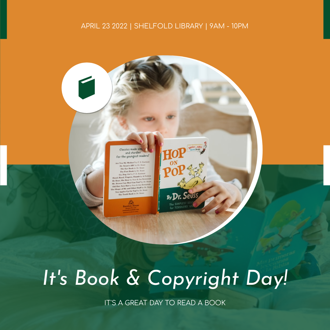 Instagram Post template: Orange And Green Photo Book And Copyright Day Instagram Post (Created by InfoART's Instagram Post maker)