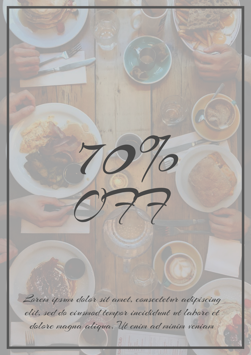 Poster template: 70% Off Food Poster (Created by InfoART's Poster maker)