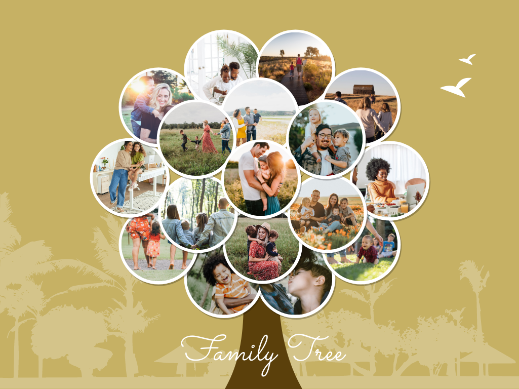 Family Tree template: Fall Leaves Family Tree (Created by Collage's Family Tree maker)