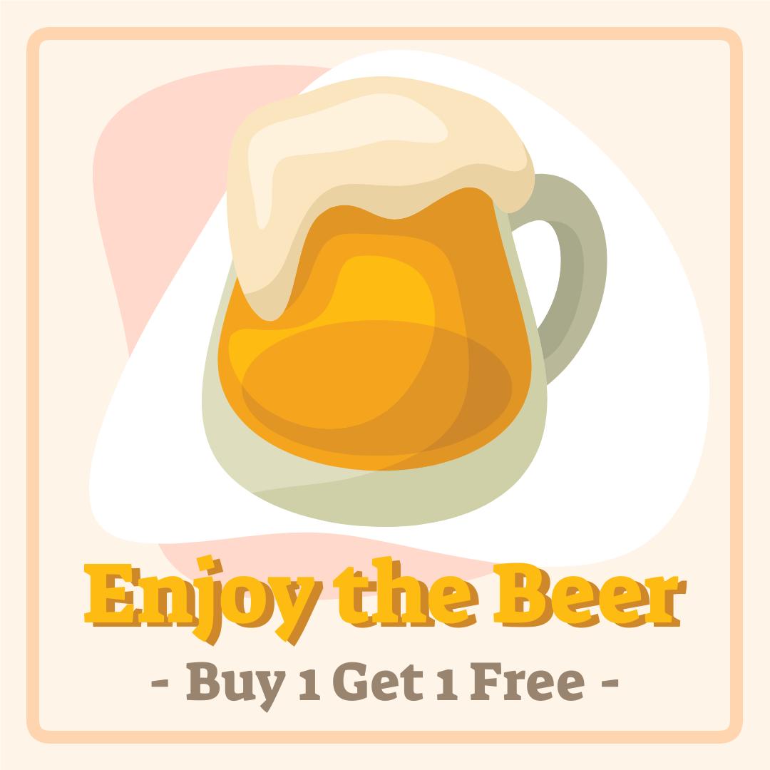 Instagram Post template: Enjoy The Beer Discount Instagram Post (Created by InfoART's Instagram Post maker)