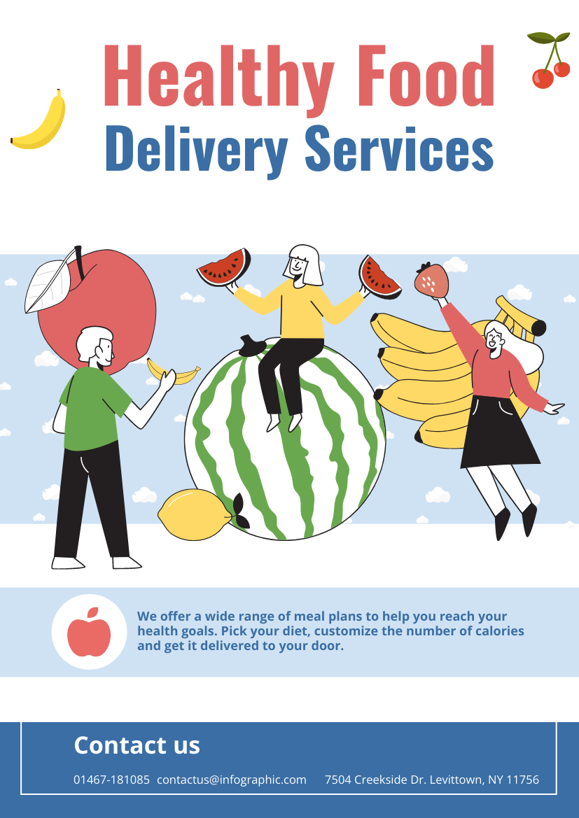 Flyer template: Healthy Food Delivery Services Flyer (Created by InfoART's Flyer maker)