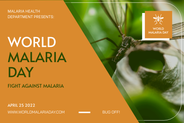 Greeting Card template: Orange Malaria Photo World Malaria Day Greeting Card (Created by InfoART's Greeting Card maker)