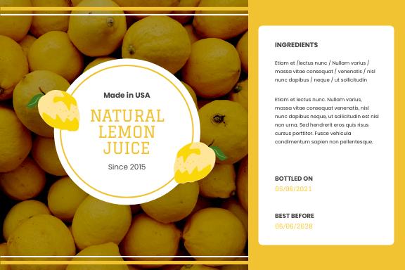 Label template: Natural Lemon Juice Label (Created by InfoART's Label maker)