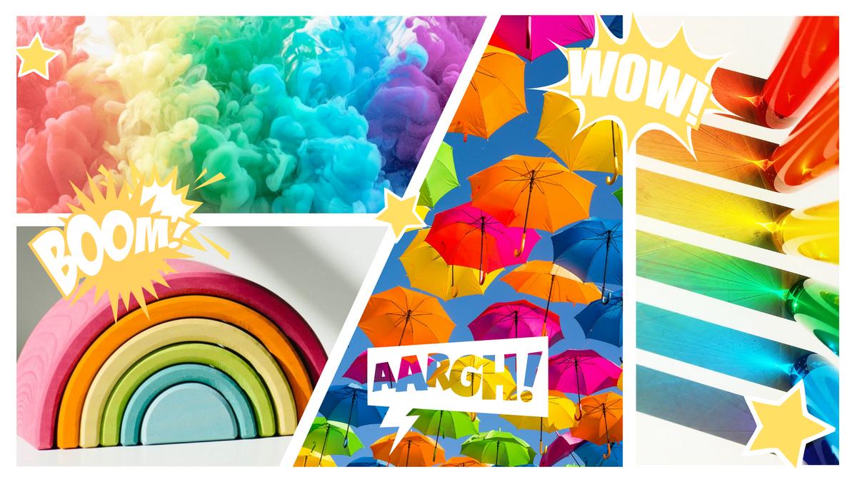 Comic Strip template: Rainbow Comic Strip (Created by Collage's Comic Strip maker)